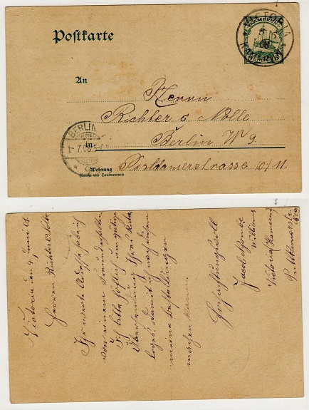 CAMEROONS (German) - 1904 5pfg green PSC to Germany used at VICTORIA.  H&G 14.
