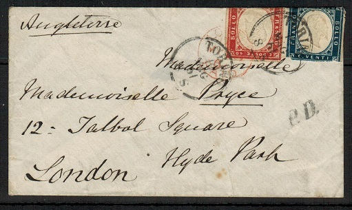 ITALY (Sardinia) - 1861 30c rate cover to UK used at TORTLI.