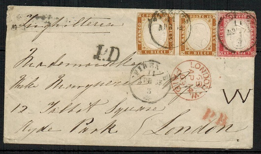 ITALY (Sardinia) - 1863 50c rate cover to UK used at FIRENZE.
