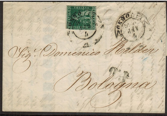 ITALY (Tuscany) - 1856 4c rate entire to Bologne used at LIVORNO.