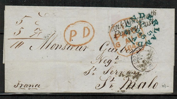GREAT BRITAIN - 1845 outer wrapper to France from SUNDERLAND with MONK WEARMOUTH/PENNY POST h/s.