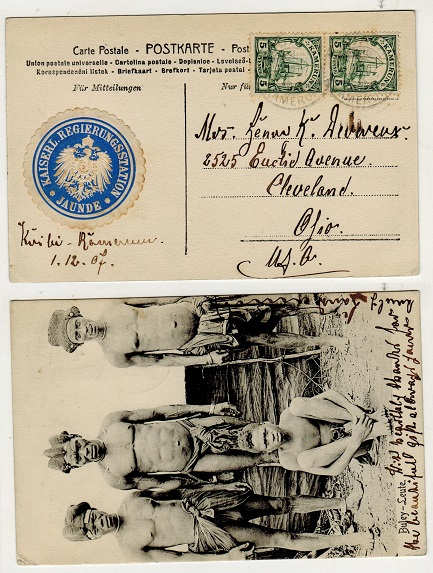 CAMEROONS (German) - 1907 10pfg rate postcard use to USA used at DUALA with official JAUNDE label.