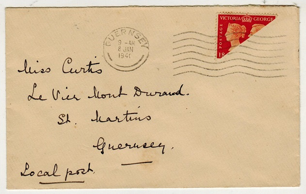 GREAT BRITAIN (Guernsey) - 1941 2d orange bi-sected on cover (SG 482a) cancelled GUERNSEY.