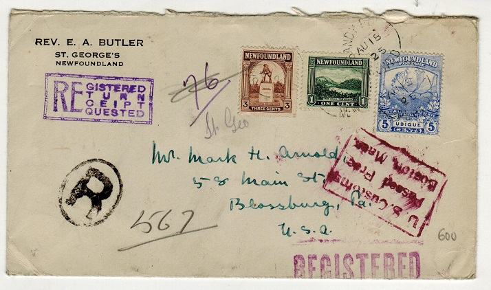 NEWFOUNDLAND - 1925 9c rate registered cover to USA used at SANDY POINT.