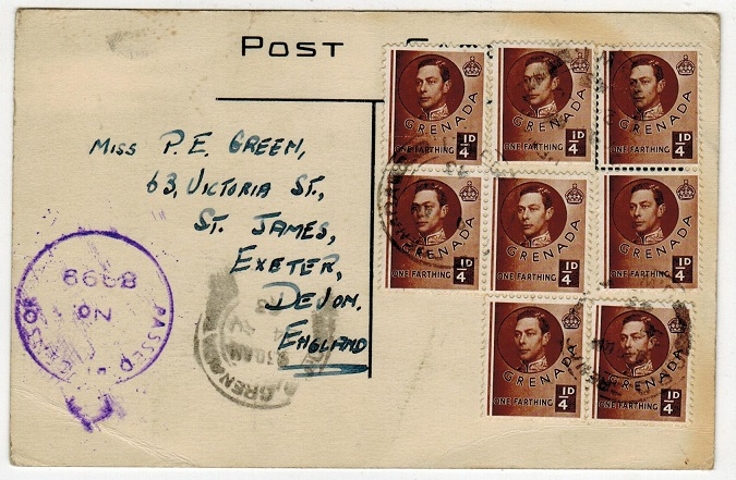 GRENADA - 1953 2d rate censored postcard use to UK.