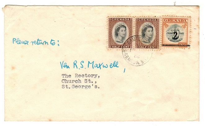 GRENADA - 1968 cover used locally bearing 1/2c (x2) and