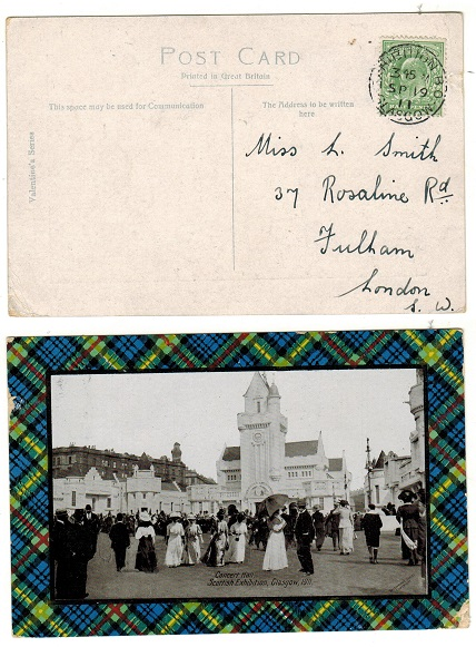 GREAT BRITAIN - 1911 1/2d rate postcard use to Fulham cancelled EXHIBITION GLASGOW.