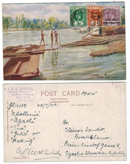 CEYLON - 1920 6c rate postcard use to Czechoslovakia.