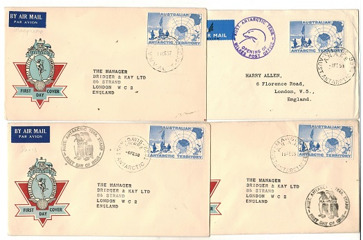 AUSTRALIA (Antarctic Territories) - 1957/8 range of 4 2/- rate covers from different bases.