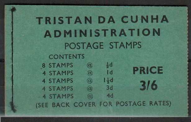 TRISTAN DA CUNHA - 1960 3/6d black on green BOOKLET stiched at left.  SG SB3.