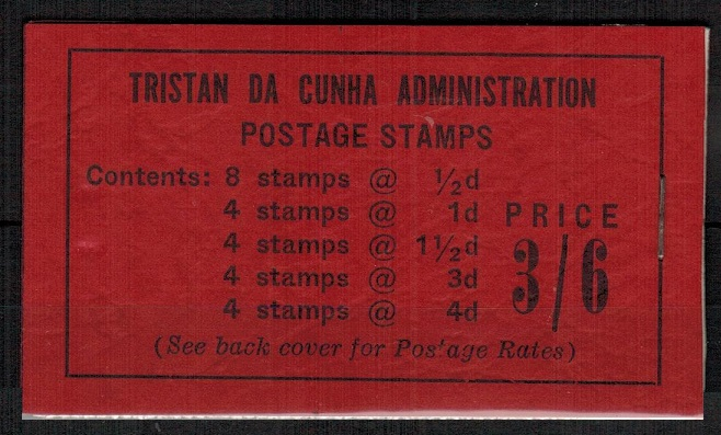 TRISTAN DA CUNHA - 1958 3/6d black on red BOOKLET stapled at right.  SG SB2.