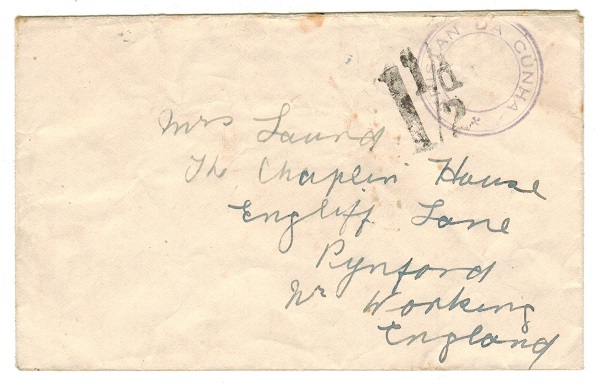 TRISTAN DA CUNHA - 1946 (circa) stampless cover addressed to UK.