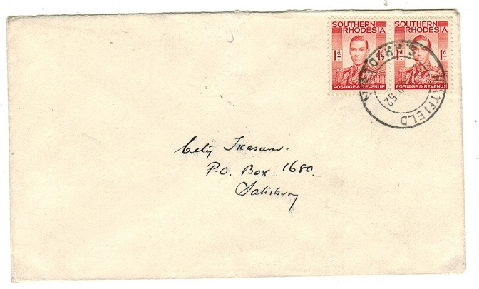 SOUTHERN RHODESIA - 1952 2d rate local cover used at HATFIELD.