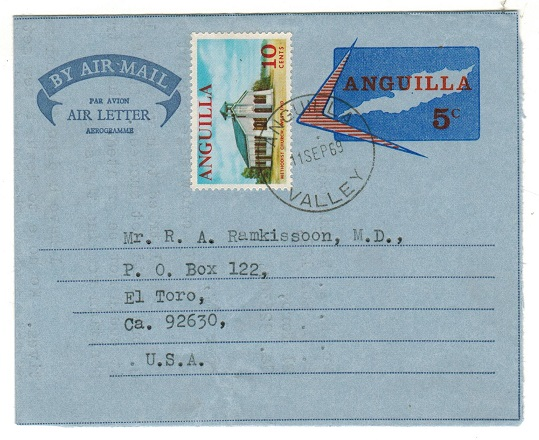 ANGUILLA - 1969 5c air letter uprated at ANGUILLA VALLEY.