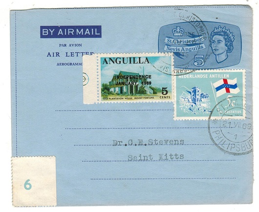 ANGUILLA - 1969 use of St.Kitts 5c air letter with 5c