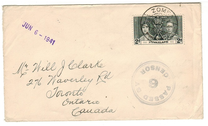 NYASALAND - 1941 2d rate censor cover to Canada with unrecorded