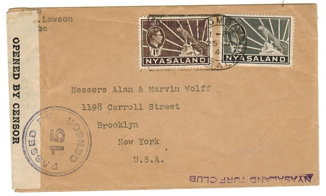 NYASALAND - 1942 3d rate censored cover to USA used at ZOMBA.
