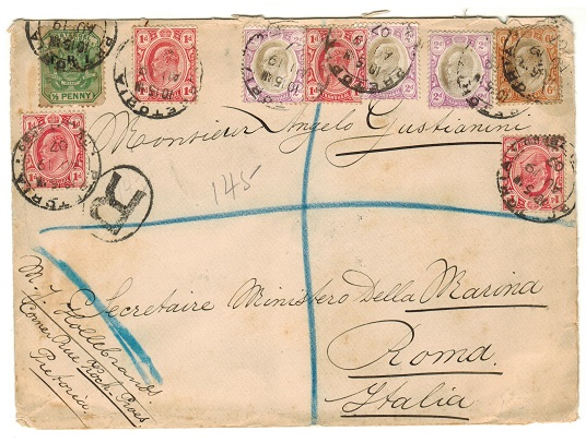 TRANSVAAL - 1907 multi-franked registered cover to Italy used at PRETORIA.