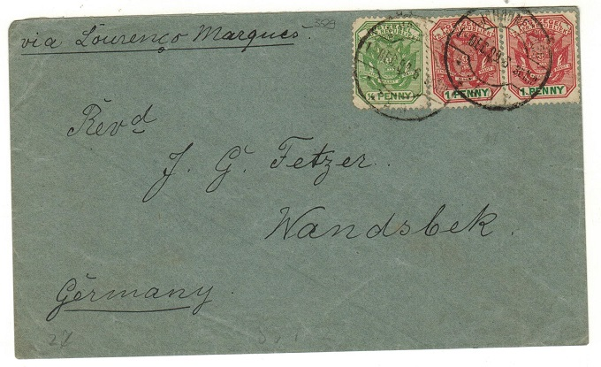 TRANSVAAL - 1899 2 1/2d rate cover
