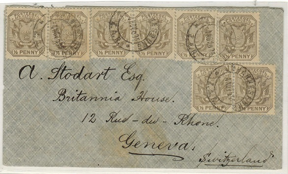 TRANSVAAL - 1895 4d rate cover to Switzerland used at JOHANNESBURG.