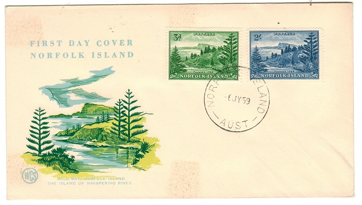 NORFOLK ISLAND - 1959 3d and 2/- on illustrated unaddressed FDC.