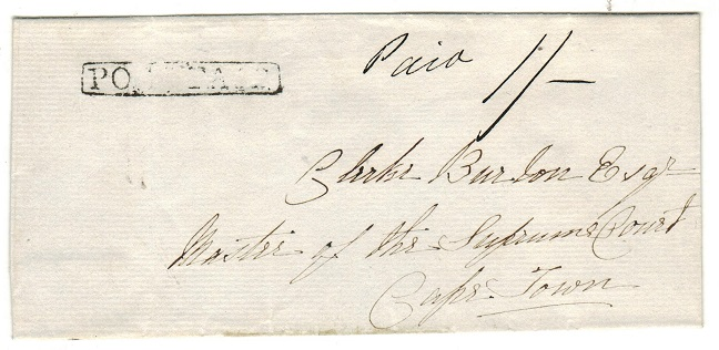 CAPE OF GOOD HOPE - 1820 (circa) 1/- rated outer wrapper struck POST PAID to Cape Town.