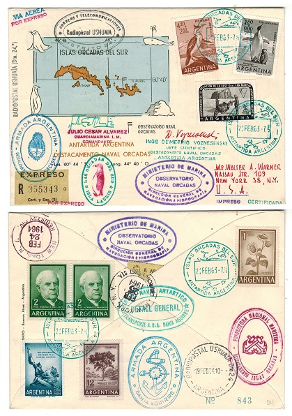 ARGENTINA (South Orkney Islands) - 1963 registered EXPRESS cover to USA from Argentine Observatory.