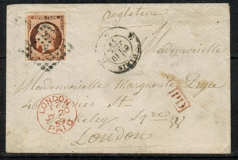 FRANCE - 1859 40c rate cover to UK cancelled by