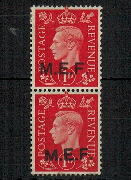 B.O.F.I.C. (MEF) - 1942 1d scarlet mint se-tenant pair with ROUND/SQUARE STOPS.  SG M6b.