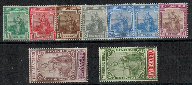 TRINIDAD AND TOBAGO - 1921 series on 9 in fine mint condition.  SG 206-15.