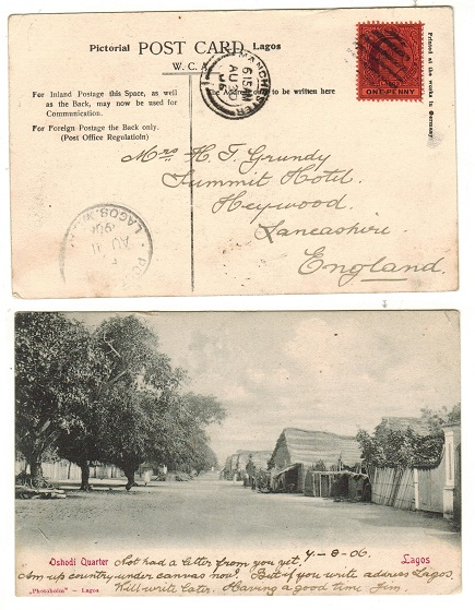 LAGOS - 1908 1d rate postcard use to UK.