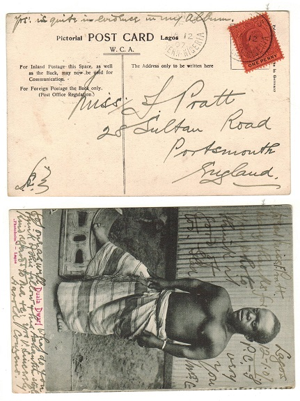 LAGOS - 1907 1d rate postcard use to UK.