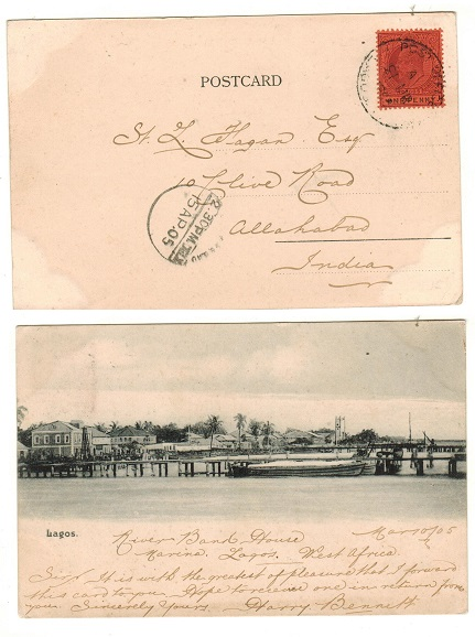 LAGOS - 1905 1d rate postcard use to India.