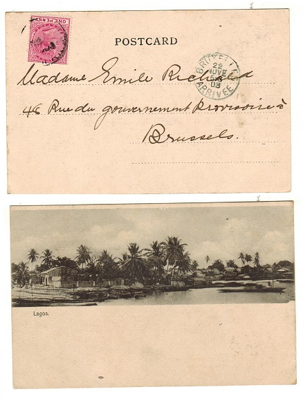 LAGOS - 1903 1d rate postcard use to Belgium.