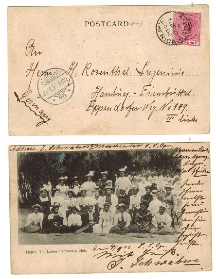 LAGOS - 1902 1d rate postcard use to Germany.