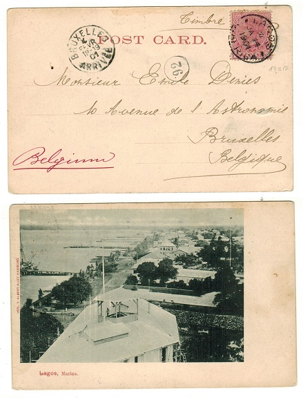 LAGOS - 1901 1d rate postcard use to Belgium.