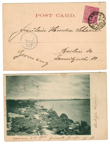 LAGOS - 1901 1d rate postcard use to Germany.