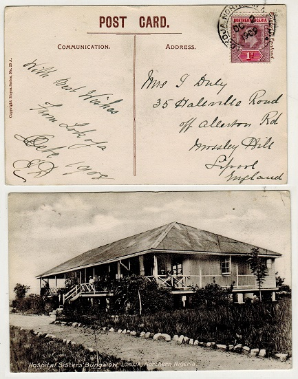 NORTHERN NIGERIA - 1909 1d rate postcard use to UK.