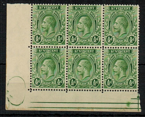 ST.VINCENT - 1921 1/2d green U/M block of six with green oval printers mark in margin.  SG 131.