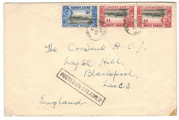 SIERRA LEONE - 1948 5d rate cover to UK used at FREETOWN with POSTED ON STEAMER h/s.