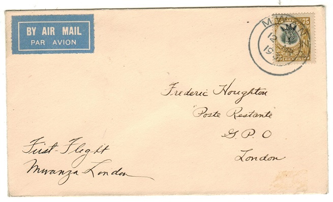 TANGANYIKA - 1931 first flight cover to UK from MWANZA.