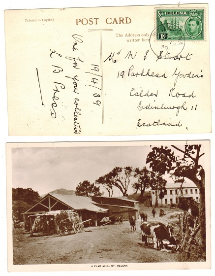 ST.HELENA - 1939 1d rate postcard use to UK.