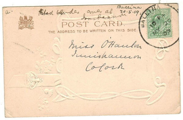 IRELAND - 1909 (MY.20.) 1/2d rate postcard use to Cork cancelled BALLINA.