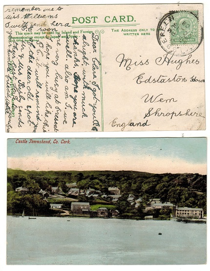 IRELAND - 1908 (OC.13.) 1/2d rate postcard use to UK cancelled by SKIBBEREEN cds.