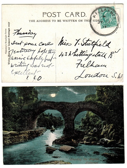 IRELAND - 1908 (JY.15.) 1/2d rate postcard use to UK cancelled KILLARNEY.