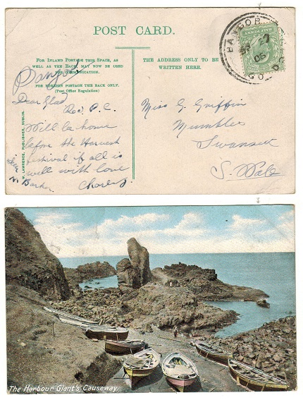 IRELAND - 1906 (SP.27.) 1/2d rate postcard use to UK cancelled BANGOR/CO.DOWN.