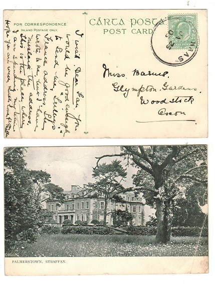 IRELAND - 1905 (JA.25.) 1/2d rate postcard use cancelled NAAS.