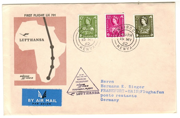 K.U.T. - 1962 first flight cover from NAIROBI to Germany via Lufthansa and Boeing.