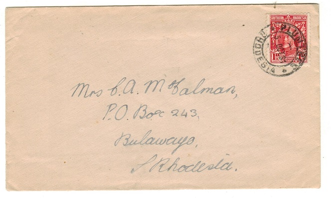 SOUTHERN RHODESIA - 1931 1d rate local cover adhesive used at PLUMTREE.