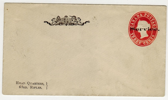 CANADA - 1887 3c red PSE unused overprinted SERVICE.